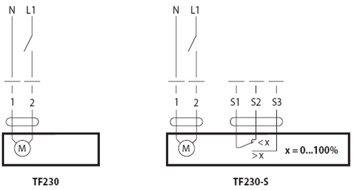 Схемы электрических соединений электропривода Belimo TF 230.